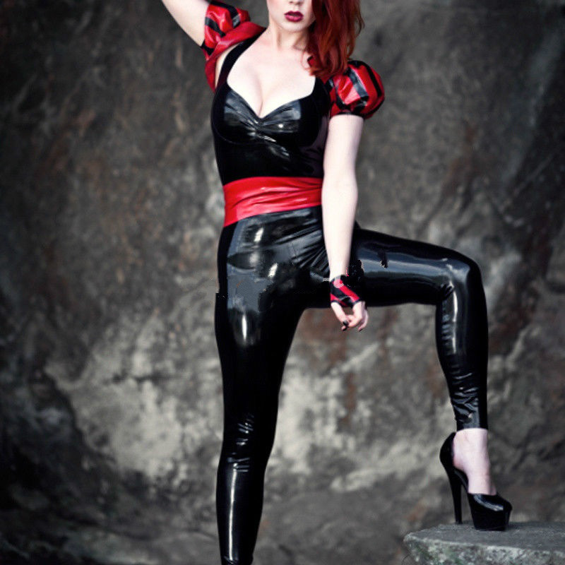 Red Rubber Suite: Cool Latex Suit Rubber Bodysuit Black And Red Full Body