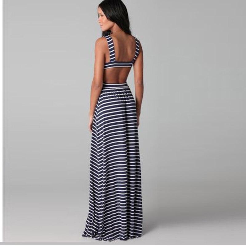 Striped Sexy Maxi Long Beach Women Backless Sleeveless Beach Dresses 2017 Summer Draped Floor-Length V-neck Dress