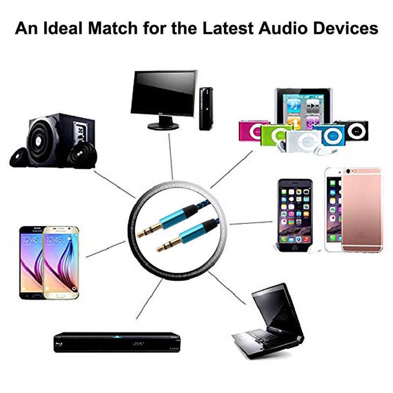 العالمي 3.5 مللي متر جاك كابل الصوت النايلون جديلة 3.5 مللي متر سيارة كابل مساعد 1.5 متر سماعة تمديد رمز للهاتف MP3 سيارة سماعة رئيس