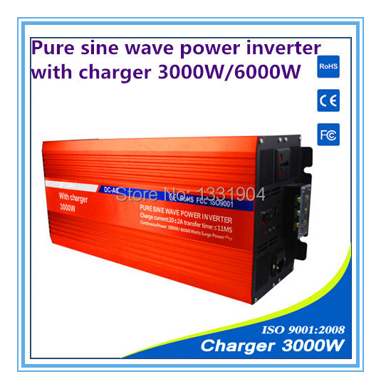 12V to 220V 3000W Pure Sine Wave Power Inverter With Buildin Charger with Automatic Transfer for solar inverter, car inverter
