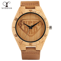 Creative Wooden Watch Super DAD Dial Natural Fashion Gift For Men Father Quartz Movement Sport Cool