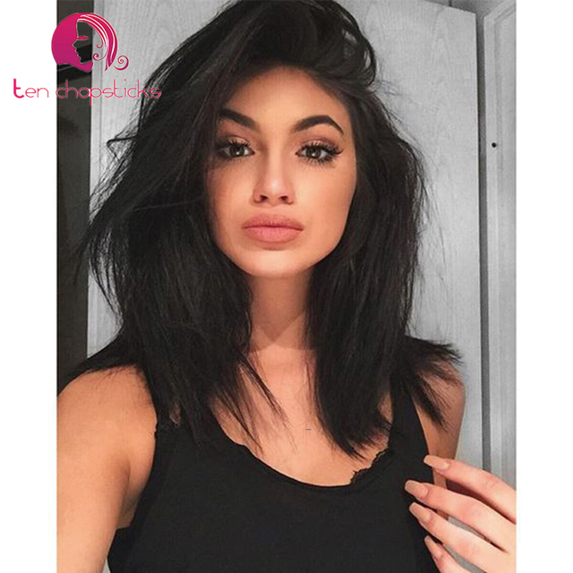 d9234cb14 150 Density Natural Straight Short Lace Front Human Hair Wigs For Black  Woman 100% Virgin