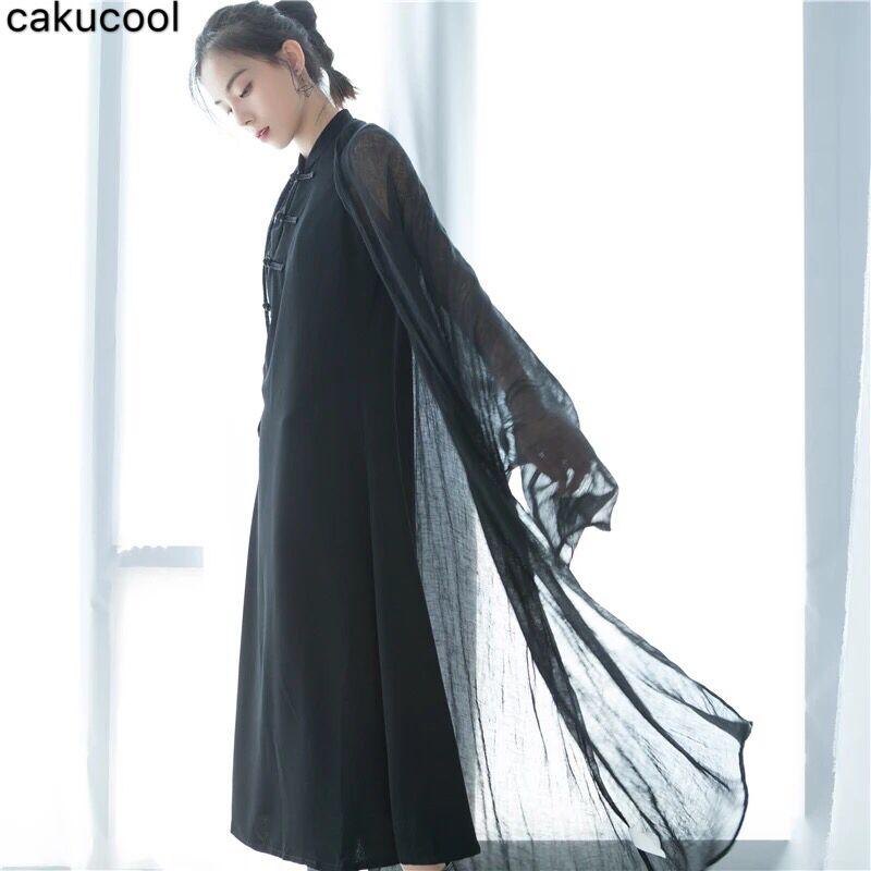 Cakucool منتصف طول سترة المرأة 2019 الربيع والخريف جديد الكتان شال منظور واقية من الشمس بلوزة قميص الأسود-في معطف مبطن من ملابس نسائية على  مجموعة 1