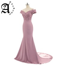 Ameision Evening Dress 2019 Boat Neck Slim Sweetheart Mermaid Prom Satin With Appliques gown Long Robe De Soiree