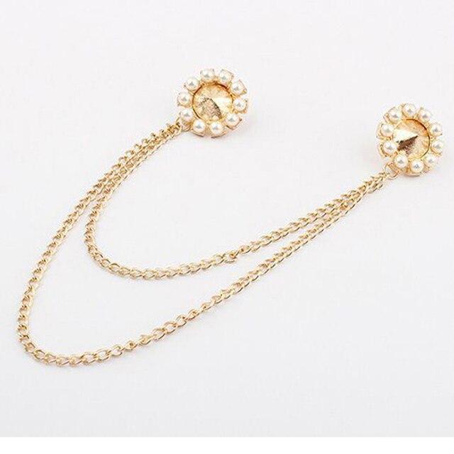 98429dc9f Fashion Gold Plated imitation Pearl Brooch Pins Fashion Rhinestone Women  Collar Clip Tassel Brooch Ladies Pins Brooches