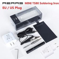 Мини TS80 цифровая паяльная станция QC3.0 USB Type-C OLED программируемый интерфейс STM32 чип наконечники набор инструментов US EU вилка новая