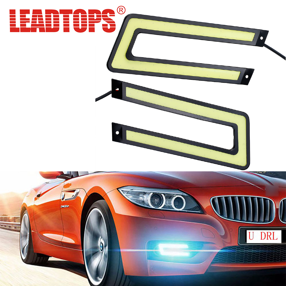 LEADTOPS 2 pcs Cob Drl Led Daytime Running Light Sumber COB U Bentuk Running Light Mobil DRL LED Lampu Styling AE