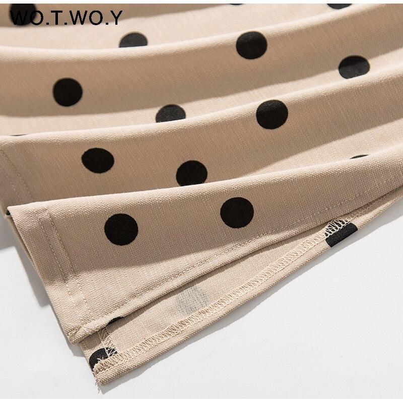 WOTWOY Summer Polo Shirt Dress Women Dot Print Plus Size Loose Cotton Maxi Dresses Pocket Short Sleeve Black Apricot Long Dress 9