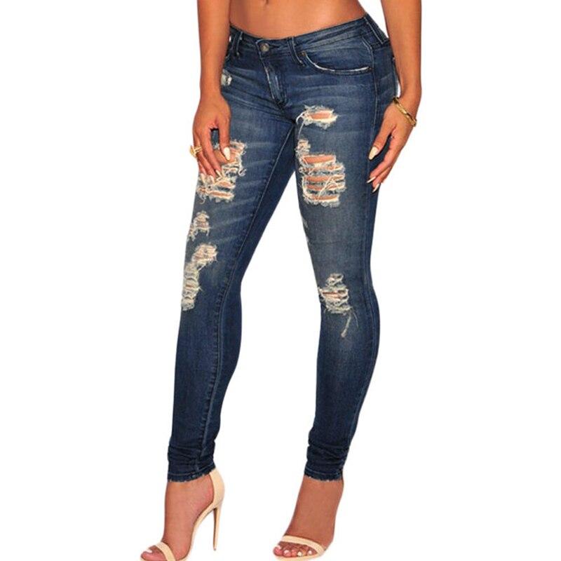 Dark Blue Sandblast Wash Women Jeans Plus Size Jeans Women Long