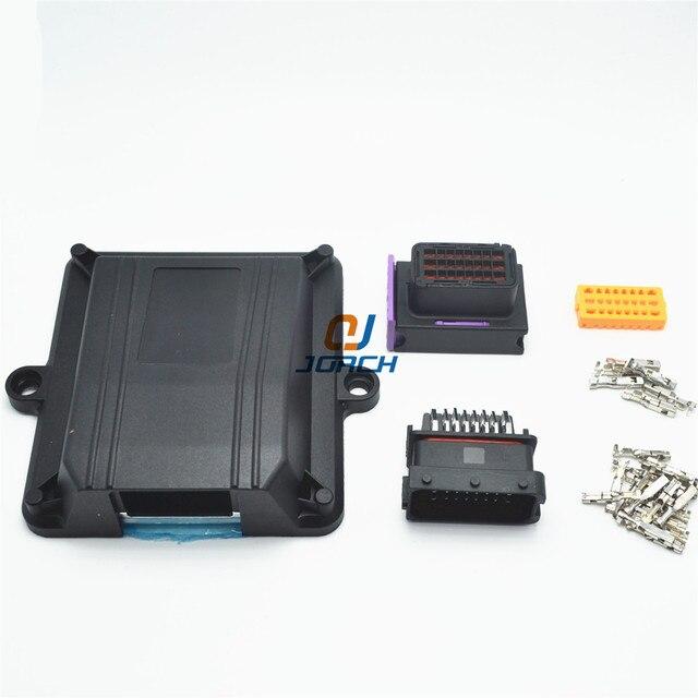 1 kiti seti 24 pin yolu ECU otomotiv plastik muhafaza kutusu kasa motor araba LPG CNG dönüşüm ECU denetleyici ile otomatik konnektörler