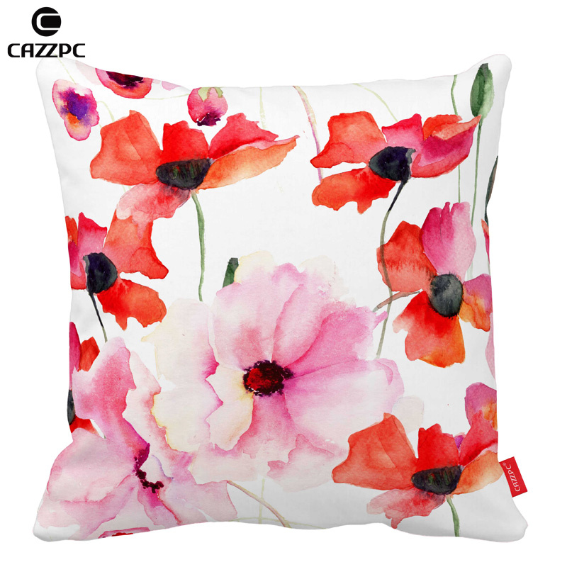 Watercolor Colorful Elegance Poppy Flowers Car Decorative Throw Pillowcase Pillow cases Cushion Covers Sofa Chair Home Decor