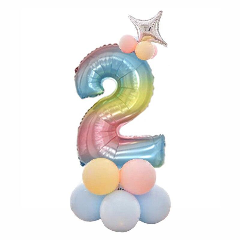 32 дюймов фольга градиент воздушные шары в форме цифр Набор цифр шар с днем рождения воздушные шары вечерние украшения дети мультфильм шляпа игрушка - Цвет: 2