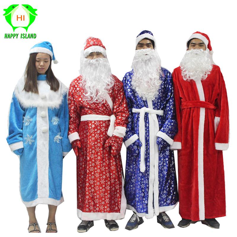 Adult Christmas Costumes Santa Claus Costume Flocking+Rabbit Fur Men Cosplay Costume Christmas New Year Party Costume Suit