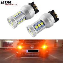 IJDM светодиодсветодиодный лампы янтарного цвета PW24W, без ошибок, PWY24W светодиодный светодиодные лампы для Audi A3 A4 A5 Q3 VW MK7 Golf CC Ford Fusion, Передние поворотники