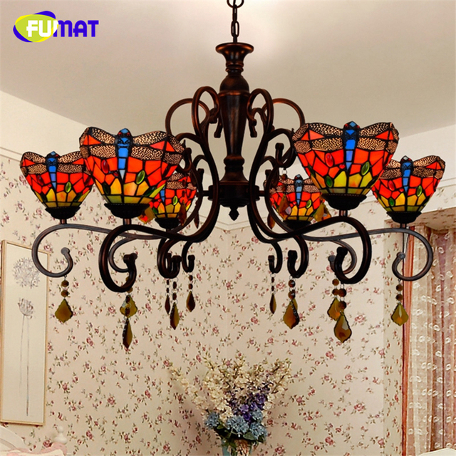 FUMAT European Tiffany Creative Vintage American Artistic Dragonfly Chandeliers LED Art Lights For Living Room Chandelier Lamps