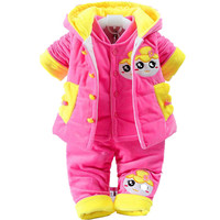 3 Pcs Baby Rompers Kids Infant Winter Newborn Jumpsuit Pajamas Thick Cotton Padded Clothes Girls Hooded
