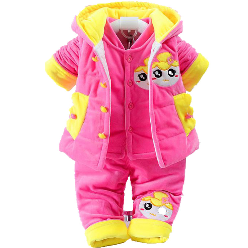 3 Pcs Baby Rompers Kids infant Winter Newborn Jumpsuit Pajamas Thick Cotton-Padded Clothes Girls Hooded Vest Coat Tops Pant W136 baby products bebe girl bebe boy newborn clothes baby costume thick warm infant baby rompers kids winter clothes jumpsuit hooded