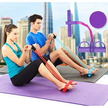 2 Tubes/4 Tubes Fitness Resistance Bands Latex Pedal Exerciser Women Men Sit Up Pull Ropes Yoga Equipment Tic Foot