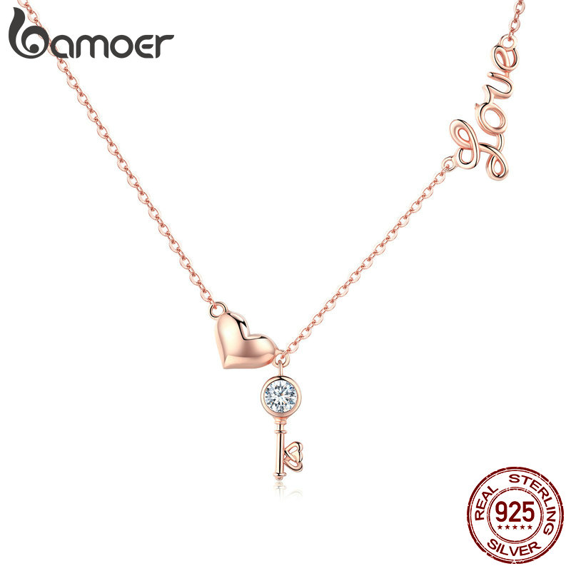 BAMOER Romantic 925 Sterling Silver Key Lock To Heart Pendant Necklaces Women Gold Color Necklace Sterling Silver Jewelry SCN292