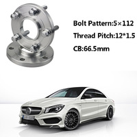 2pcs 5x112 66.5CB Centric Wheel Spacer Hubs M14*1.5 Bolts For Benz CLA Class B Class