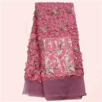 Wonderful lady dress material with 3D flower French net lace fabric with sequins for making dress NN23(5yards/lot)