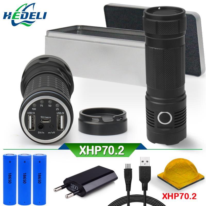 CREE XLamp xhp70.2 most powerful flashlight usb led torch xhp70 xhp50 18650 Rechargeable battery spotlight hunting 50000 lumens