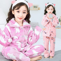 Children Kids Boys Girls Christmas Pajamas Winter Pyjamas Flannel Hooded Pijama Sets Cartoon Sleepwear For Girls Boys Sleepwear