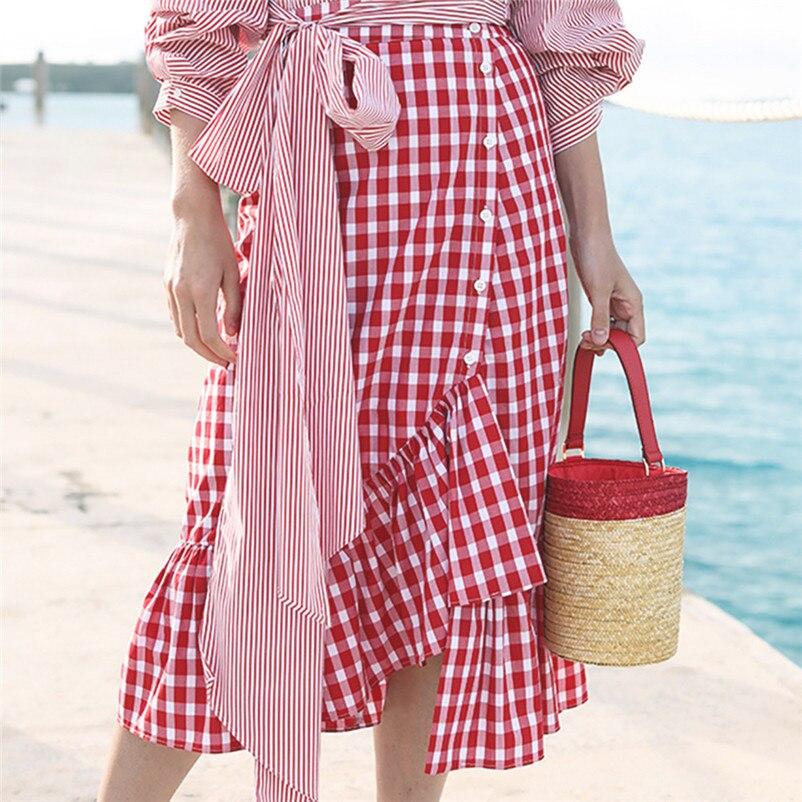 New Fashion 2018 Summer style skirts womens Plaid Casual Ruffled Button Party Slit High Waist Mid-Calf Skirt Femme Saia Y18#N (6)