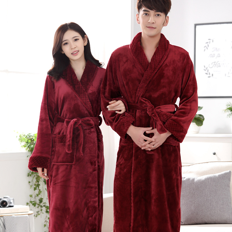 Hot Selling Lovers Long Warm Coral Fleece Bathrobe Men Winter Super Soft  Flannel Kimono Bath Robe Male Dressing Gown Mens Robes-in Robes from  Women s ... 77b9c0aa4