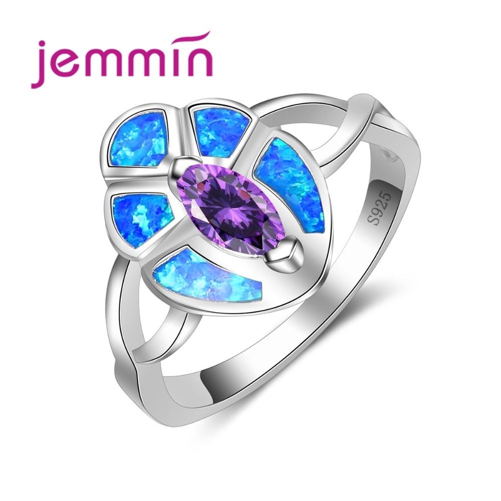 Women Flower Cross Ring Purple Crystal Stone Blue Fire Opal Ring Fine 925 Sterling Silver Jewelry Attractive Bijoux