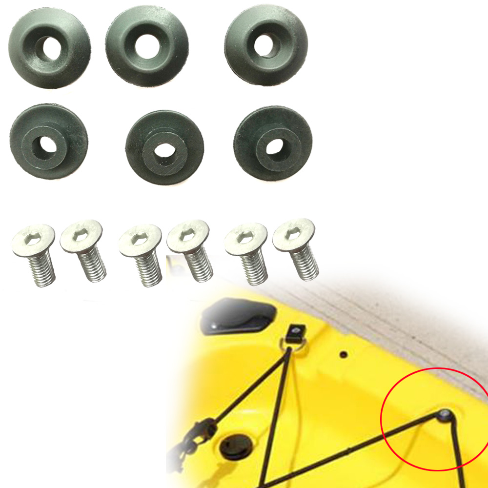 6PC Kayak Deck Line Guides Outfitting Nylon Round Shape Rope Guides For Boat