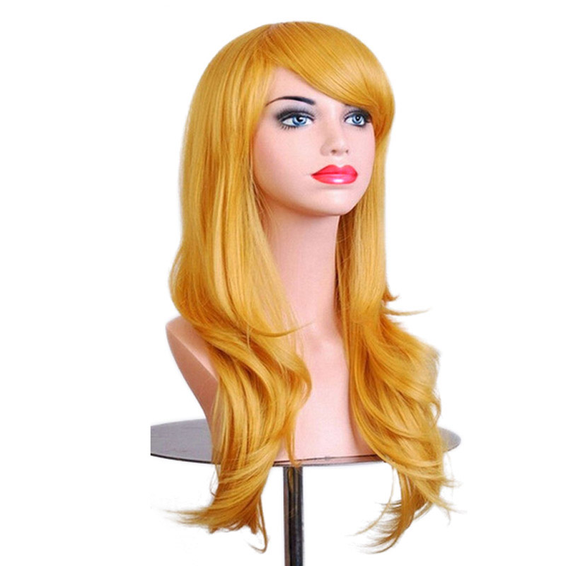 JINKAILI Long Curly Synthetic Cosplay Wigs Red For Women Natural Blond Hair Heat Resistant Fake Hair Wigs