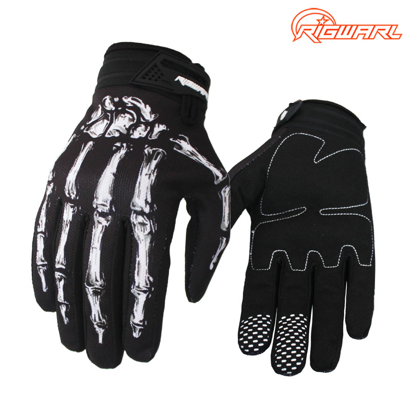 Mænds Anti-Sliding Breathable Cyclilng Gloves Full-finger forår sommer cykel cykling motocross guantes luvas skelet design