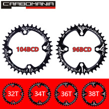 Bicycle Crank 104BCD/96BCD Round Shape Narrow Wide 32T/34T/36T/38T MTB Chainring Bike Circle Crankset Single Plate Chainwheel(China)