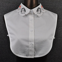 Women Scalloped Cute Shirt Fake Collar White Girls Head Painting Embroidery Design Detachable Collars
