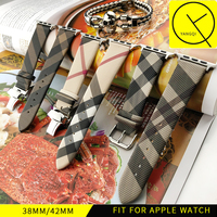 YQ Watchband Caff Leather Watchband Watch Apple Watch 38mm 42mm Strap Band Butterfly Metal Clasp Buckle