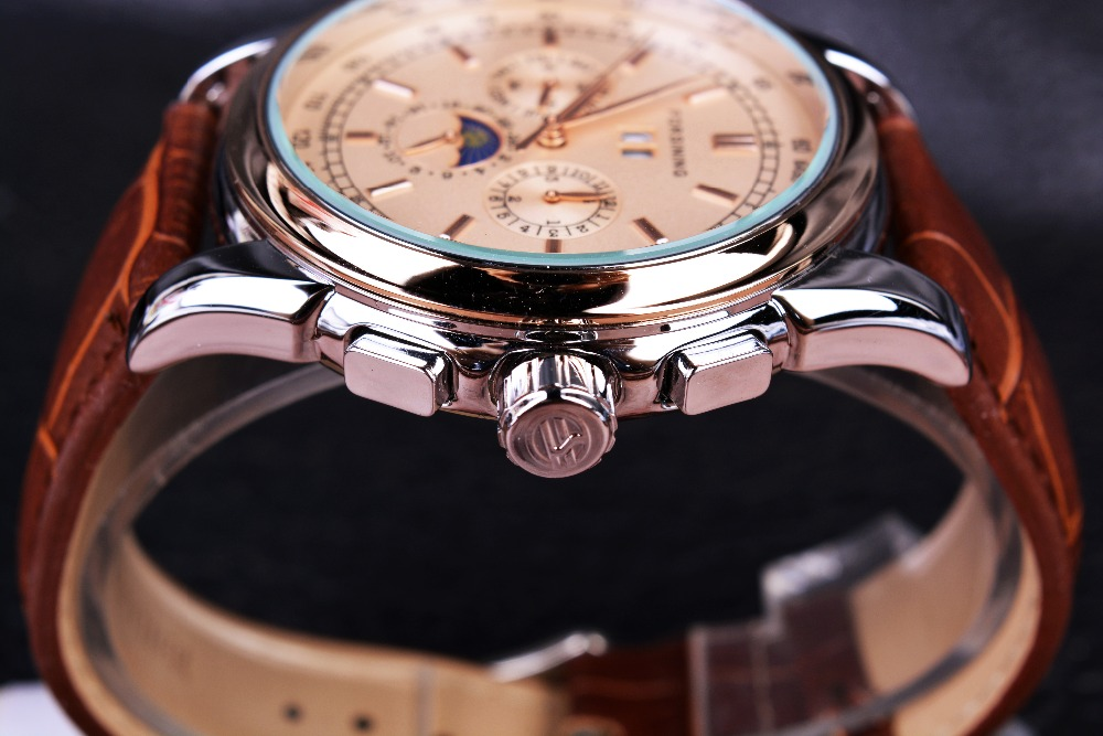 Forsining Phase de lune Shanghai mouvement boîtier en or Rose bracelet en cuir véritable marron montres pour hommes montre automatique de luxe de marque supérieure - 3