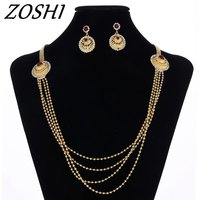 Hot Sale Fashion Cubic Zirconia Pendant Chain Necklace And Earrings 18k Gold Dubai Jewelry Sets Gift