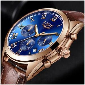Image 4 - LIGE relojes para hombre, cronógrafo de lujo, de cuero, deportivo, resistente al agua, militar, Masculino