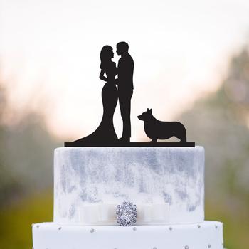 Pan i pani tort weselny topper panna młoda i pan młody i Welsh corgi sylwetka ciasto topper para i corgi pies tort weselny dekory tanie i dobre opinie Akrylowe Ślub Rocznica Ślub i Zaręczyny Walentynki Zwierząt LSX0373