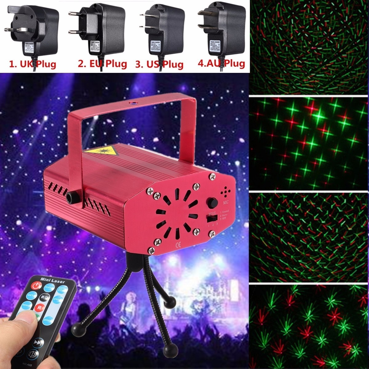 HENYNET Portable Mini R & G Auto/Voice Mic Control Xmas Dj Disco Party Led Laser Stage Light Lighting Projector Remote-Silver