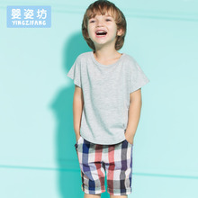 2016 New Summer Casual Baby Boys Summer Short Sleeve T shirt Tops Clothes Plaid Pants Outfit