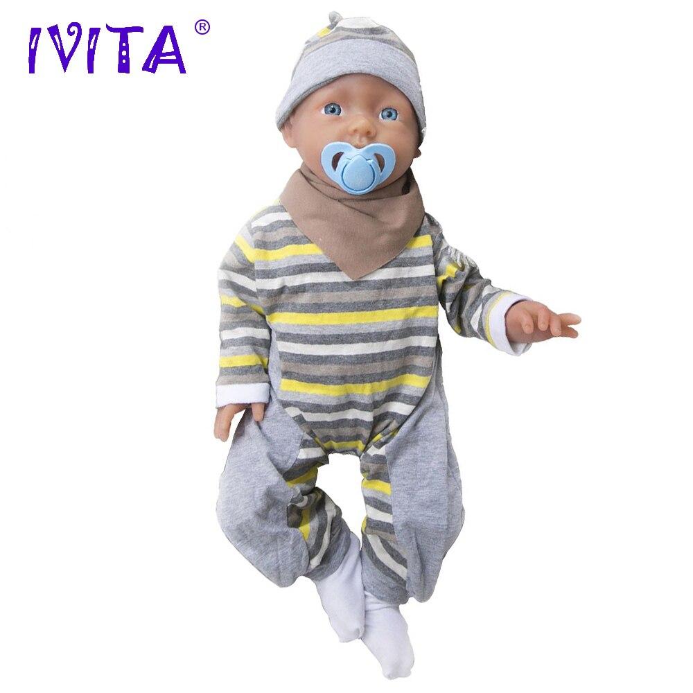 IVITA 20 Inch 3960g Silicone Reborn Babies Realistic Blue Eyes Soft Baby Silicone Dolls Lifelike Reborn