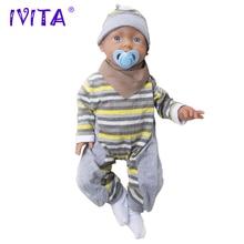 IVITA 20 Inch 3960g Silikon Reborn Bayi Realistis Biru Mata Lembut Bayi Boneka Silikon Manusia Hidup Reborn Boneka Silikon mainan