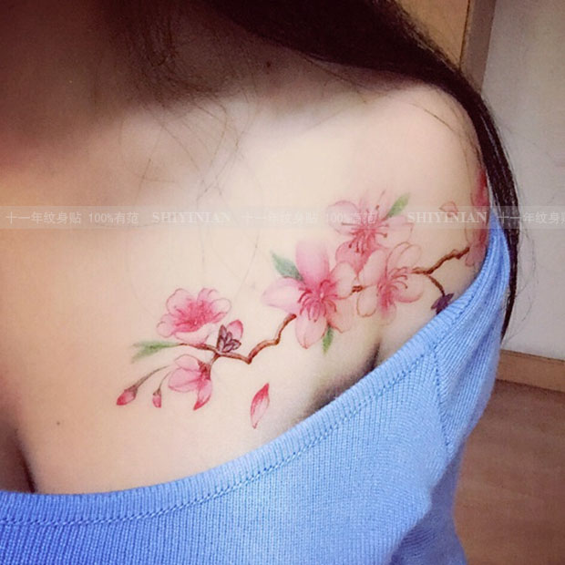 Sakura Waterproof temporary Tattoo Stickers female persistent sex simulation small fresh shoulder chest cute long Flower tatto 4