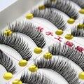 Handmade 10 Par Natural Grosso Longas Pestanas Falsas do Vison Pestana Extensão Eye Makeup Lashes volumosa Cílios Falsos Para A Construção