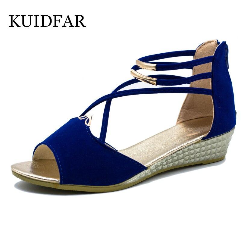 Kuidfar Для женщин сандалии женские Модные сандалии Обувь Лето wegde Обувь повседневная женская обувь женские сандалии-гладиаторы с открытым носком