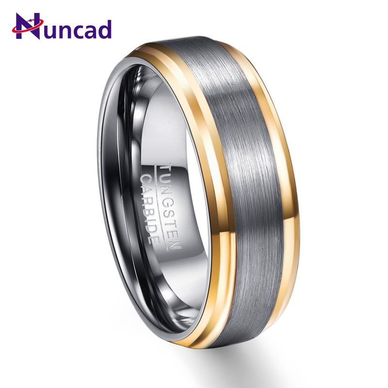 2019 silver grey surface gold beveled polish 8mm width 100% genuine wedding band elegance tungsten carbide rings for men(China)