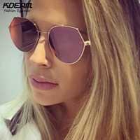 High Chic FF Eyeline Aviator Sunglasses Women Flat Rose Gold Sun Glasses Girl Reflective Sunglass With
