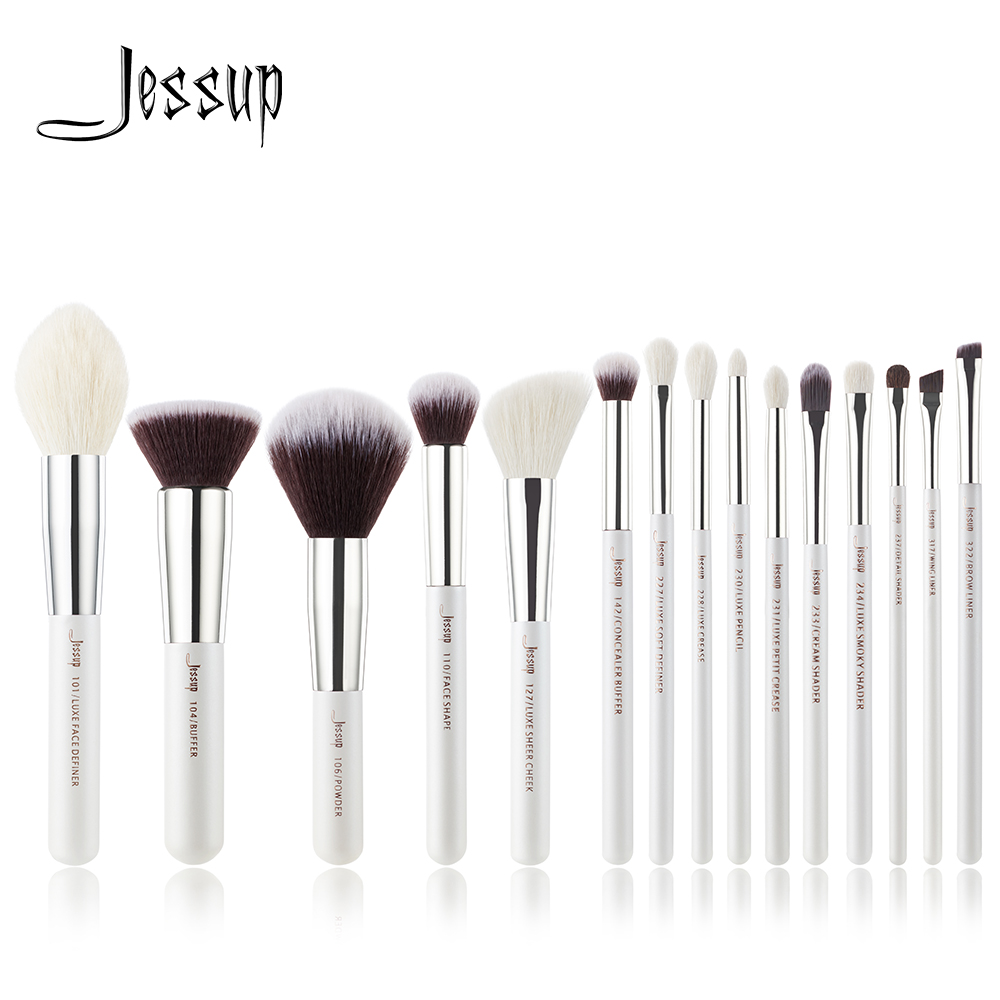 Jessup Pearl White /Silver Professional Makeup Brushes Set Make Up Brush Tools Kit Foundation Stippling Natural-synthetic Hair